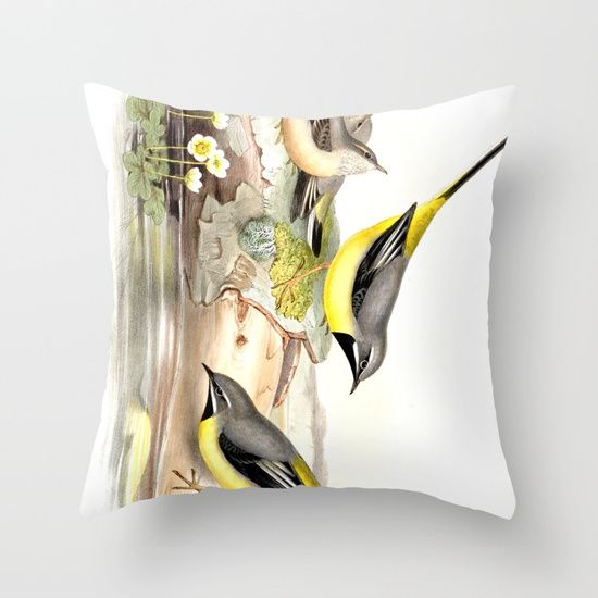 Grey wagtail Throw Pillow