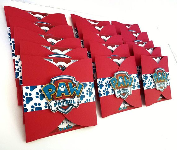 Adorable Paw Patrol themed multi layered cardstock invitations. The 5 inch by 5 inch tri-fold invitations are handmade from multiple layers of cardstock and include a coordinating belly band. Wording reads: JOIN US AS WE CELEBRATE (NAME)s (AGE) BIRTHDAY PAWTY (DATE AND TIME) (ADDRESS) RSVP (NAME AND PHONE NUMBER) Other wording is available and requires additional processing time. **ENVELOPES NOT INCLUDED** Please provide the following information in a note when you place your order: -G...