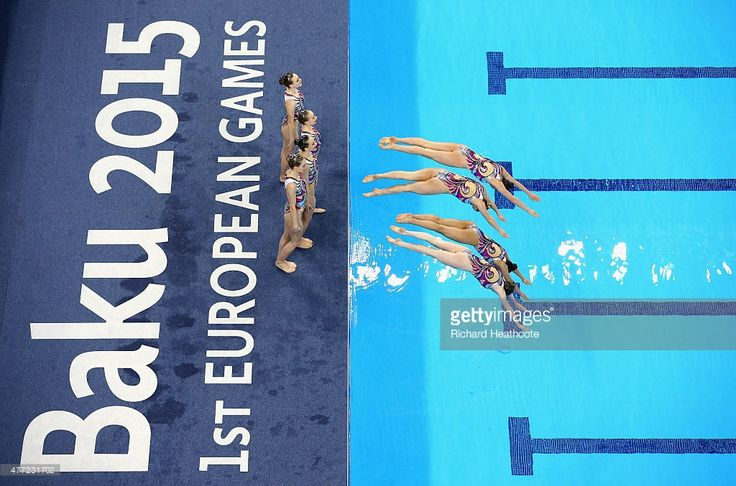 Great Britain perform in the Synchronised Swimming Teams Free Routine Final during day three of the Baku 2015 European Games at Baku Aquatics Centre on June 15, 2015 in Baku, Azerbaijan.