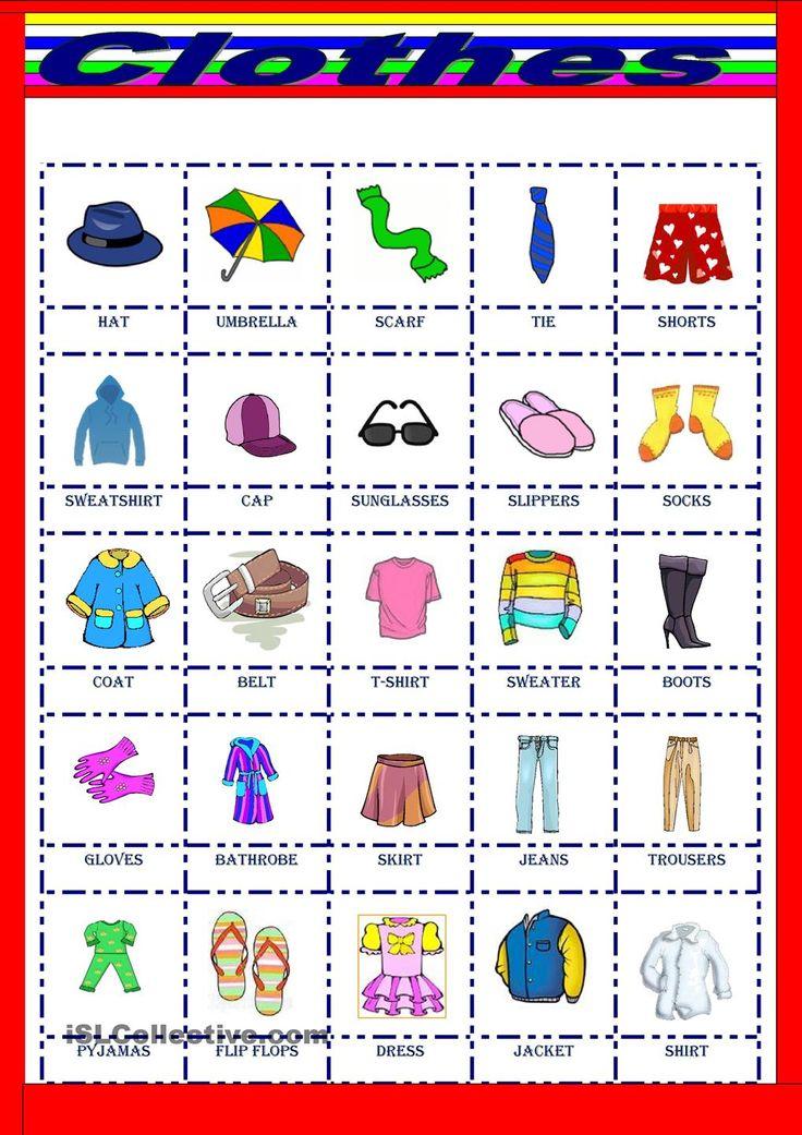 Clothes Interactive worksheet La ropa en ingles, Temas