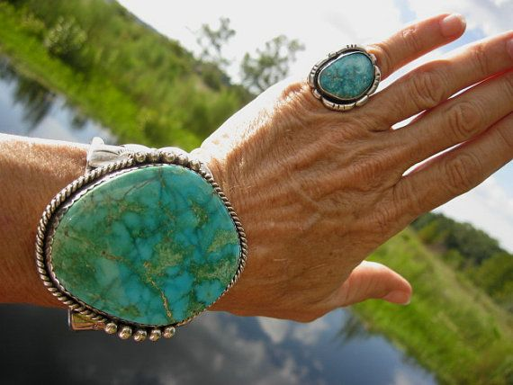 "Gorgeous Navajo Rare GREEN Spiderweb TURQUOISE Cuff Bracelet signed ""M""; Huge 2 1/2"" x 2"" Gem Grade Turquoise slab; Quality Workmanship on Etsy, $3,975.00"