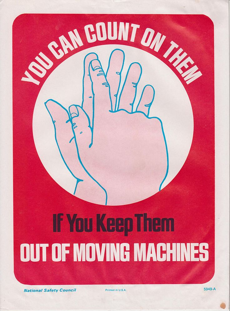work safety posters made by the National Safety Council in decades past.