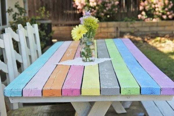 Amenajari exterioare cu mese colorate. 18 idei pentru gradina ta Daca si tie iti place sa ai o curte colorata, iata cateva idei de a desena mesele pentru picnic. 18 idei de amenajari exterioare http://ideipentrucasa.ro/amenajari-exterioare-cu-mese-colorate-18-idei-pentru-gradina-ta/