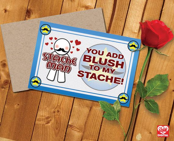 Printable Valentine Card and Envelope, Stache Man Series Instant Digital Download
