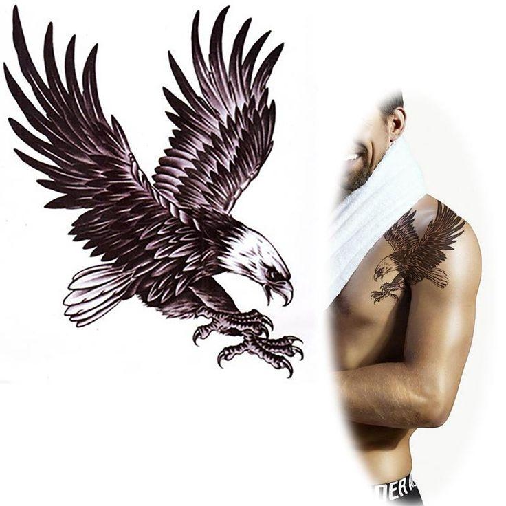 Mqa21 grande noir aigle totem tatouage flying eagle faux tatouage pour les hommes arm retour étanche tatouages temporaires autocollants 20 x 22 cm dans Tatouages temporaires de Health & Beauty sur AliExpress.com | Alibaba Group