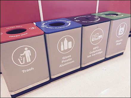 This 4-station recycling center provides for most recycling needs, except, say, nuclear waste. Aside from the comprehensive provision of recycling service, my interest also went to the icons used t...