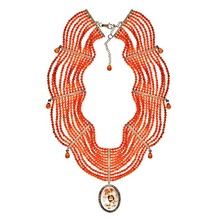 Necklace 533/WG/CO | Shell Cameo / Coral Beads / Orange Sapphire Briolette Diamond / Corundum / White Gold