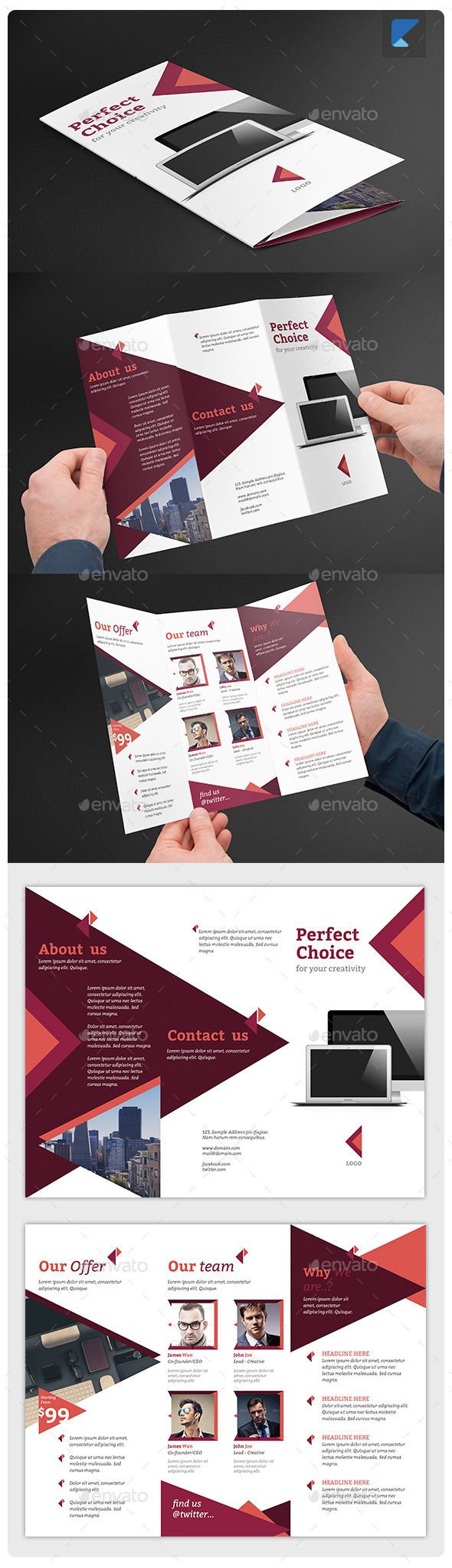 Corporate trifold brochure v38 design brochure template for Nice brochure templates