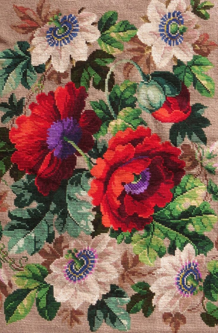 A Fabulous Victorian Berlin WoolWork  Panel (1)