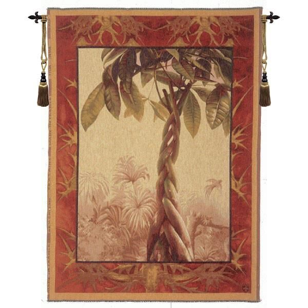 Woven in France History: Le Ficus, or Ficus Tree is a jacquard wall tapestry. It comes from a botanical series, it's colors, scene, and subject express Asian cu