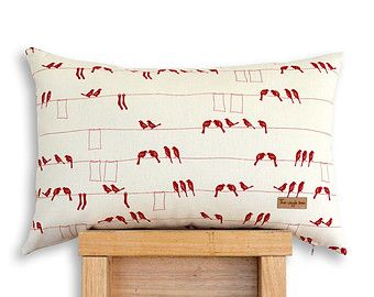 Laundry Birds - Screen printed Organic cotton cushion cover in Red.