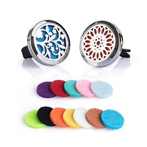 2PCS Auzer Car Fragrance Diffuser Vent Clip Car Air Freshener Perfume Clamp Aromatherapy Essential Oil Diffuser Stainless Steel Locket with Vent Clip and 12 Oil Refill Pads (Tree of love  Sunflower)