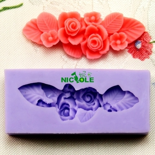 E-bay  -  Rose Flower Leaf Fondant Cake Cookie Chocolate Mold Cutter Modelling Tools F0166