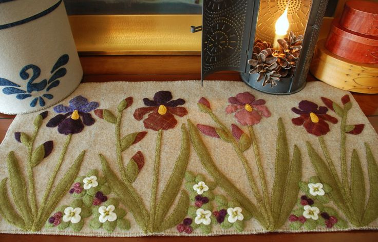 """Wool applique PATTERN """"Irises in the Bunchberries"""" table runner topper wall hanging penny rug primitive folk art hand dyed rug hooking wool by HorseAndBuggyCountry on Etsy https://www.etsy.com/listing/287178039/wool-applique-pattern-irises-in-the"""