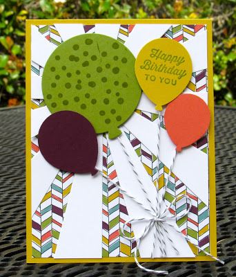 Krystal's Cards: Stampin' Up! Sunburst Sayings Birthday #stampinup #krystals_cards #sunburstsayings #onlinecardclass