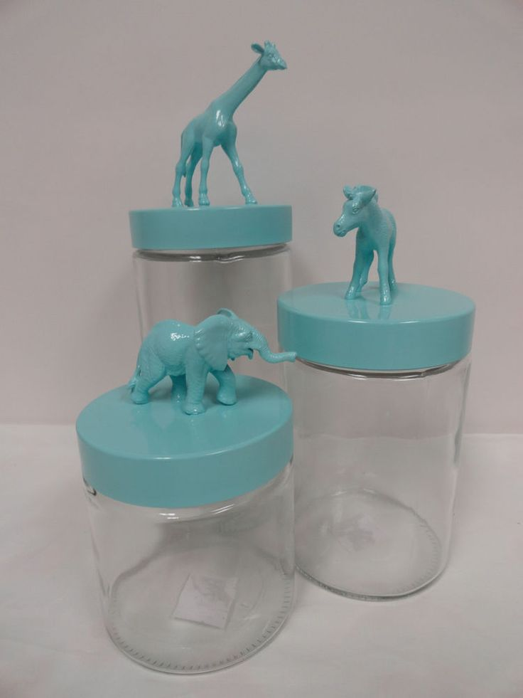 Handmade NEW Baby Nursery Storage Glass Apothecary Jars, Baby Zoo Animals  #Handmade