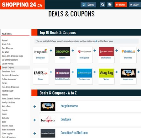 The Best Online Deals & Coupons Sites in Canada! Goto: http://shopping24.ca/deals-coupons/ and get the best deal!
