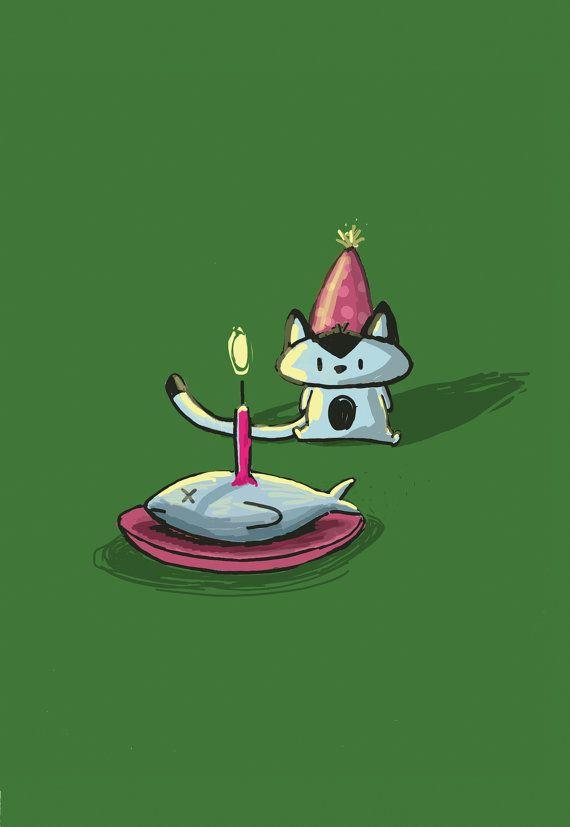Carte de voeux joyeux anniversaire chat