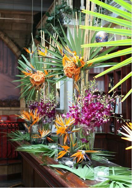 Palm and orchid and bird of paradise