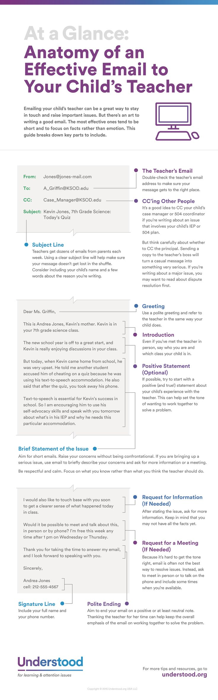 Getting ready to write an email to your child's teacher? Use this guide to see what to include to help you get the best response from the teacher. #teacher #email
