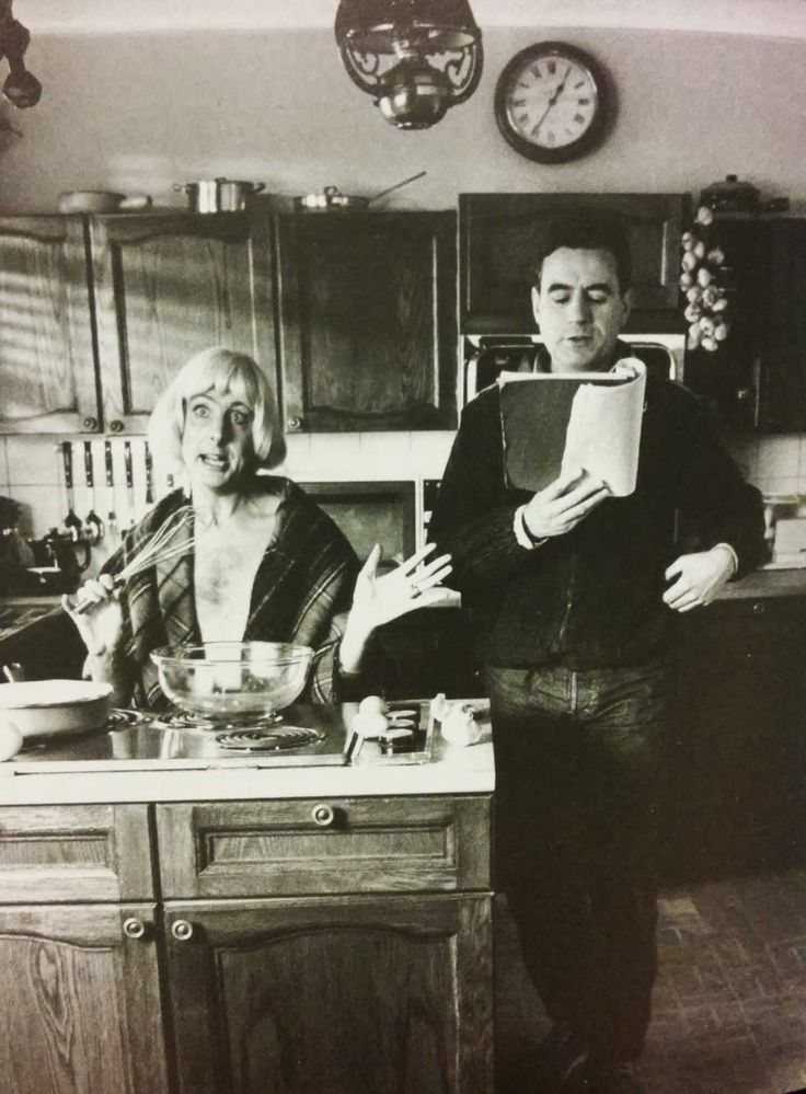 Eric Idle and Terry Jones rehearsing a deleted scene for The Meaning of Life by Monty Python's Flying Circus. Did you know that the Pythons got around getting notes from the studio by submitting a budget and a poem, which was a summary of the movie?
