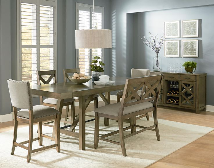 table 6 piece omaha weathered grey counter height trestle table