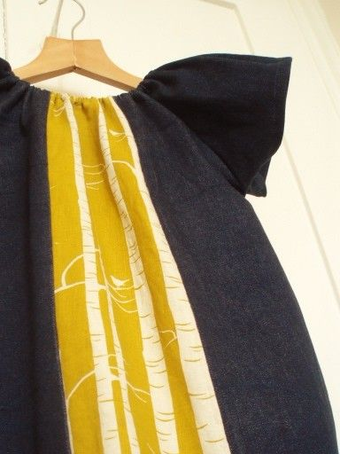 Dark Indigo Denim Tuesday Play Dress with hand printed Birch Forest panel, all sizes 0 - 3 years