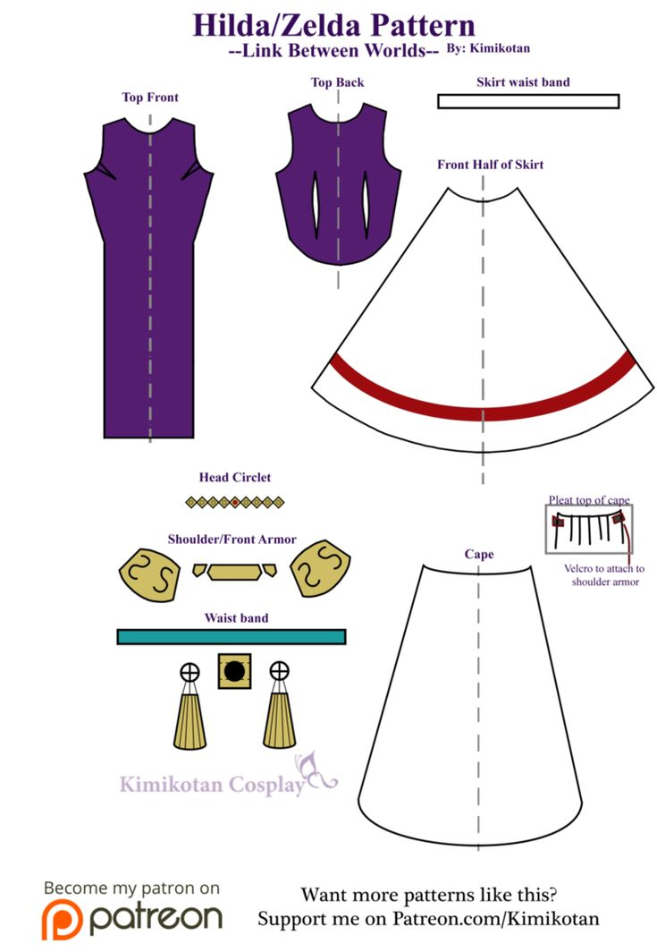 Cosplay Pattern: Hilda/Zelda from Link Between Worlds  A layout of all the different pieces for the cosplay!