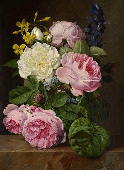 Antoine Chazal  Roses in a Vase  1845