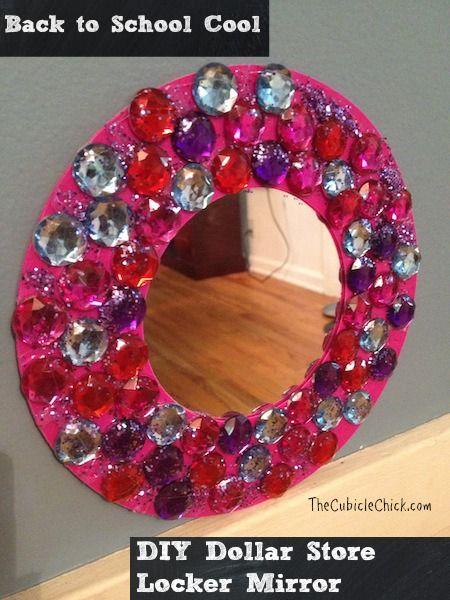 Diy dollar store locker mirror teens locker crafts for Dollar store mirror craft