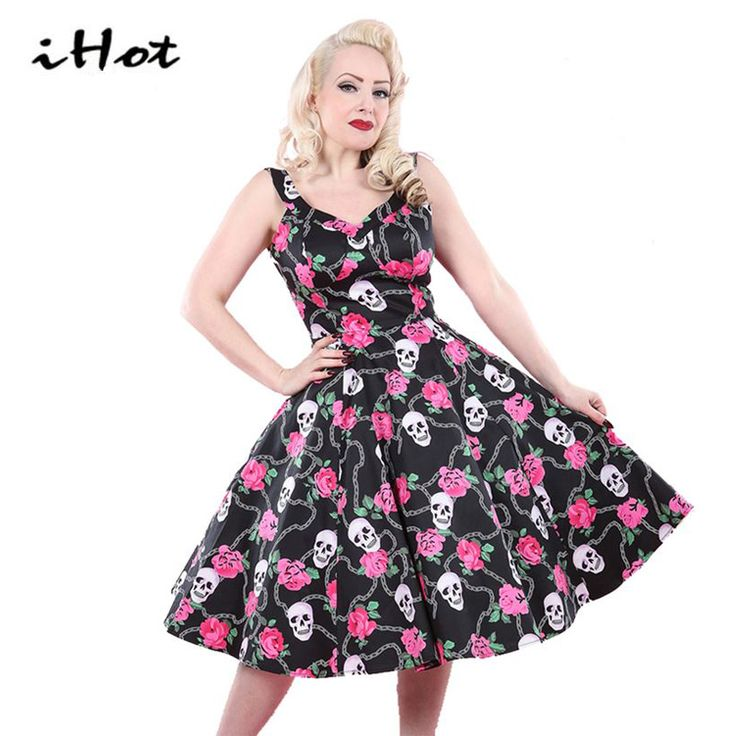 IHOT new products 2017 Women Summer Skull Rose Floral classic 50s 60s sexy spaghetti dresses vestidos rockabilly vintage xxl #Affiliate