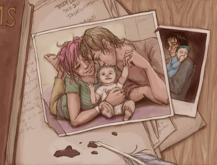 Harry Potter fan art Remus, Tonks Teddy Lupin---OH MY GOSH I LOVE THIS SO MUCH NOW IM CRYING