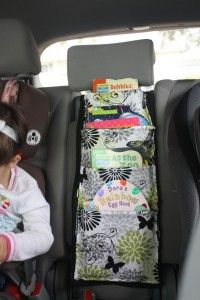 travel book holder - it would be useful to have a multi-space pouch like this for any car trip, though particularly good for keeping kids organized and occupied