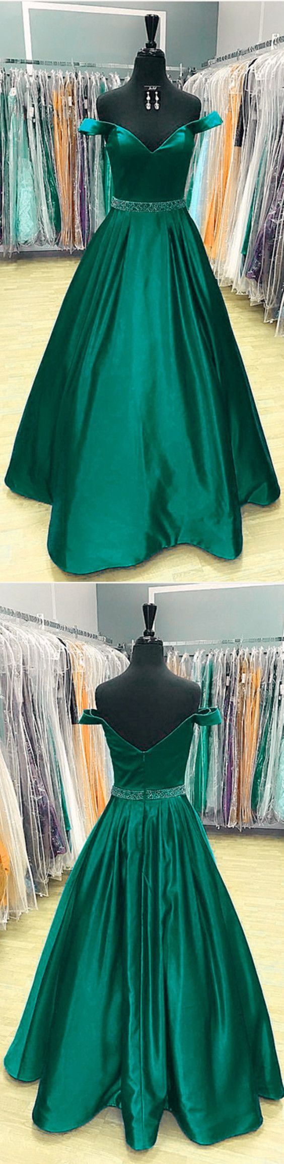 dark green prom dress,dark green evening dress,satin prom