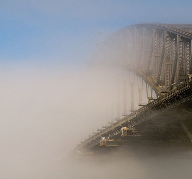 View of Sydney Harbour Bridge in Fog