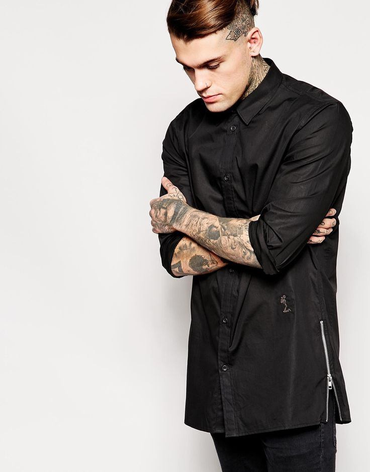Religion+Longline+Shirt+With+Side+Zips