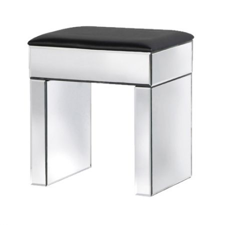 Mirrored dressing table stool upholstered in luxury fabric