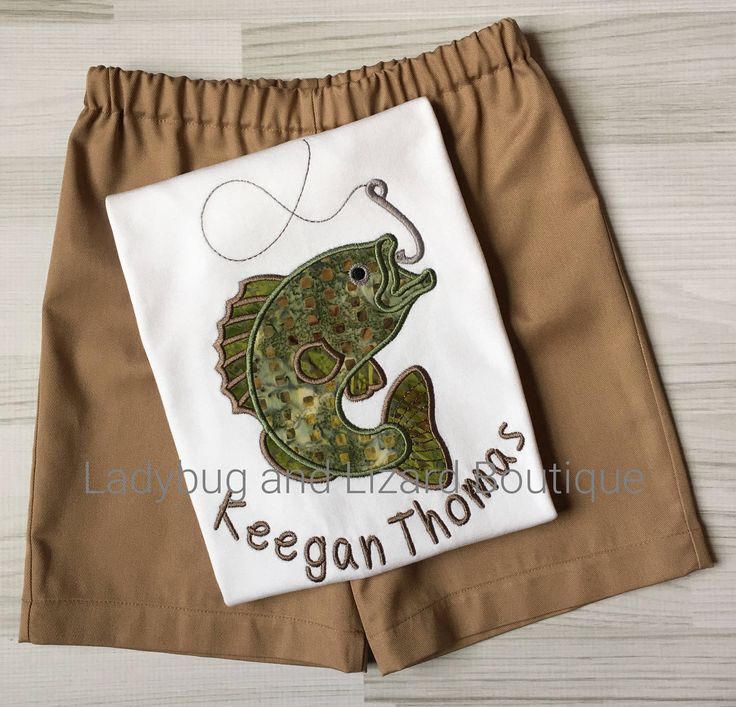 Boy's Bass Fish Short Sleeve Top with Monogram and Tan Shorts Outfit Size 12M-18M, 2T-5T, 6 by LadybugandLizard on Etsy