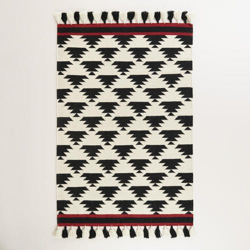 Black And White Kaia Flatweave Wool Area Rug At Cost Plus World Market