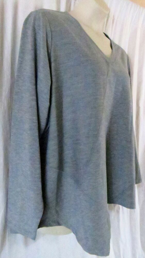 3c7f10dce41601 Westbound Woman Top 2XL Gray Long Sleeve V Neck Solid Pullover  Westbound   Pullover