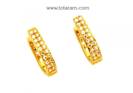Gold Hoop Earrings Ear Bali in 22K Gold with CZ GER6715 Buy