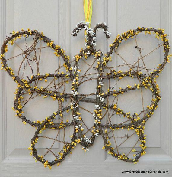 Spring Wreath  Summer Wreath  Butterfly by EverBloomingOriginal