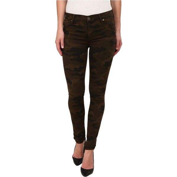 Hudson Lilly Mid Rise Ankle Skinny w/ Flap Jeans in Combat Combo... ($85) ❤ liked on Polyvore featuring jeans, brown, slim skinny jeans, brown skinny jeans, stretch jeans, camouflage skinny jeans and skinny fit jeans