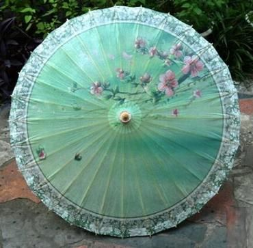 Spring White Tipped Floral Waterproof Parasol is an ideal accessory for unpredictable weather during an outdoor event!