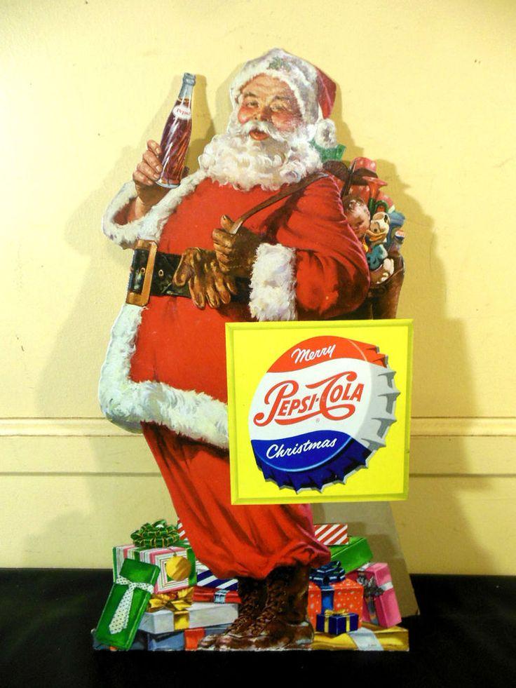 Vintage 1950 Pepsi Cola Santa Claus Cardboard Store