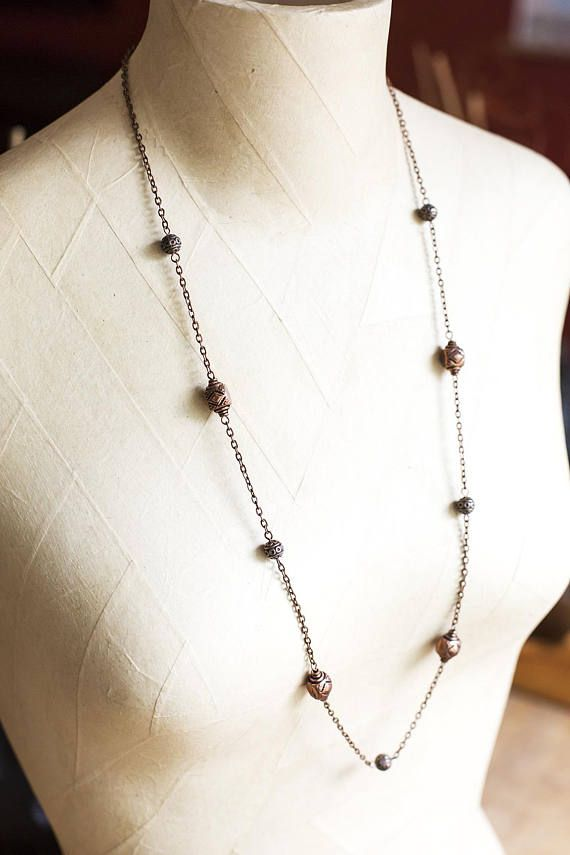 Long Copper Beaded Chain Necklace