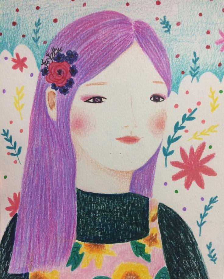 보라색으로 머리 염색할까 ........#색연필그림 #일러스트#삽화 #드로잉# 수제엽서#손그림#제작문의#drawing #artwork #illust #illustration