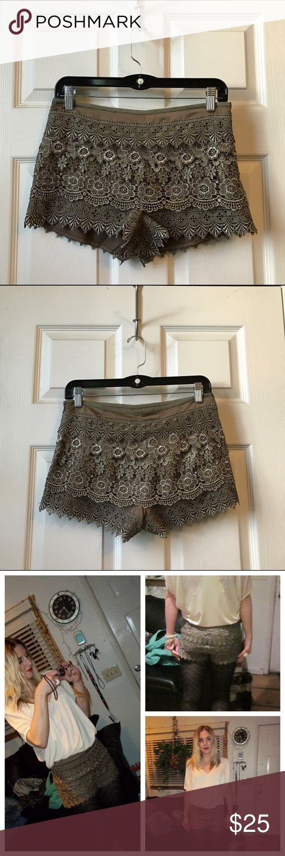 Urban Outfitters: Sans Souci lace shorts Urban Outfitters Sans Souci lace shorts with zip side / Worn once / great pairs with tights and heels Urban Outfitters Shorts