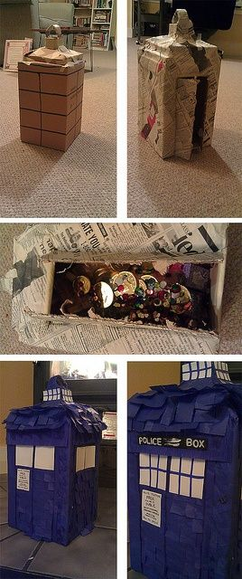TARDIS PINATA!!!!! Doing this for a Doctor Who party! I'm fillin' it with candy and stuff, not fake coins and jewels. Incentives are key.