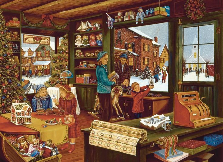 """""""Last Shopping Day"""" ~ a 1000 piece jigsaw puzzle by Cobble Hill Puzzles. Artist: H. Hargrove"""